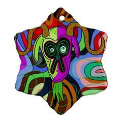 Colorful Goat Ornament (snowflake)  by Valentinaart