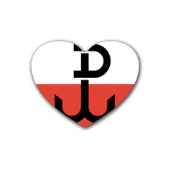 Flag Of The Polish Underground State, 1939 1945 Rubber Coaster (heart)  by abbeyz71