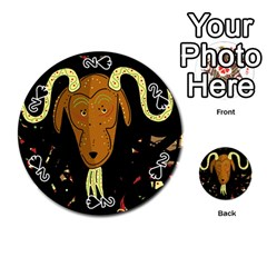 Billy Goat 2 Playing Cards 54 (round)  by Valentinaart