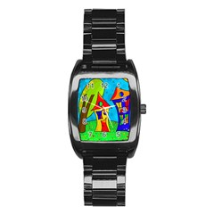 Two Houses  Stainless Steel Barrel Watch by Valentinaart