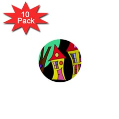 Two Houses 2 1  Mini Buttons (10 Pack)  by Valentinaart