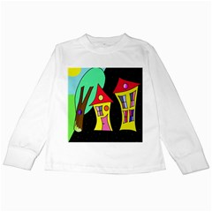Two Houses 2 Kids Long Sleeve T Shirts by Valentinaart