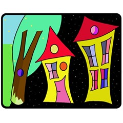 Two Houses 2 Double Sided Fleece Blanket (medium)  by Valentinaart