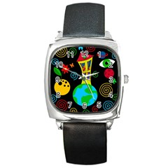 Playful Universe Square Metal Watch by Valentinaart