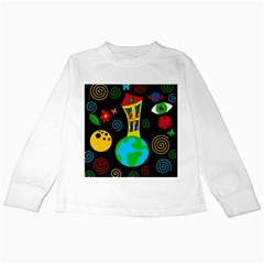 Playful Universe Kids Long Sleeve T Shirts by Valentinaart