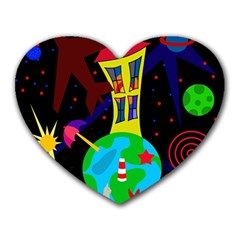 Colorful Universe Heart Mousepads by Valentinaart