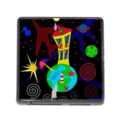 Colorful Universe Memory Card Reader (square) by Valentinaart