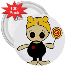 Cute Doll Girl 3  Buttons (100 Pack)  by Valentinaart