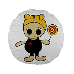Cute Doll Girl Standard 15  Premium Flano Round Cushions by Valentinaart