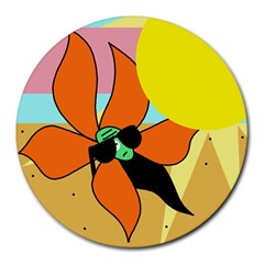 Sunflower On Sunbathing Round Mousepads by Valentinaart