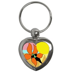 Sunflower On Sunbathing Key Chains (heart)  by Valentinaart