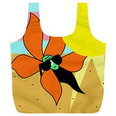 Sunflower On Sunbathing Full Print Recycle Bags (l)  by Valentinaart