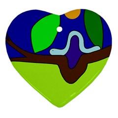 Caterpillar  Heart Ornament (2 Sides) by Valentinaart