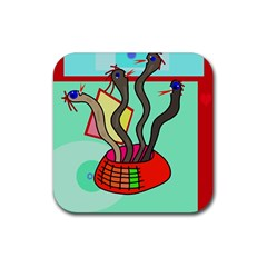 Dancing  Snakes Rubber Coaster (square)  by Valentinaart