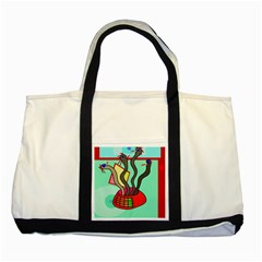 Dancing  Snakes Two Tone Tote Bag by Valentinaart