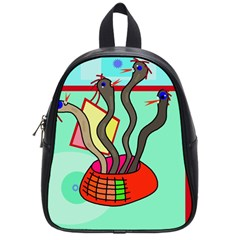 Dancing  Snakes School Bags (small)  by Valentinaart