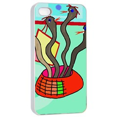 Dancing  Snakes Apple Iphone 4/4s Seamless Case (white) by Valentinaart