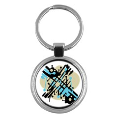 Abstract Decor   Blue Key Chains (round)  by Valentinaart