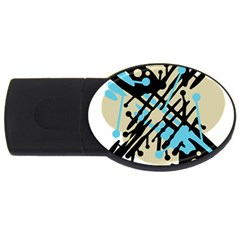 Abstract Decor   Blue Usb Flash Drive Oval (2 Gb)