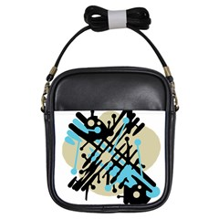 Abstract Decor   Blue Girls Sling Bags by Valentinaart