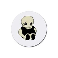 Halloween Sad Monster Rubber Coaster (round)  by Valentinaart