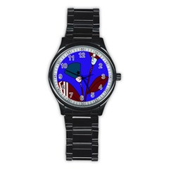 Soldier Flowers  Stainless Steel Round Watch by Valentinaart