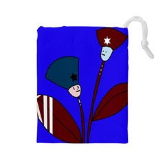 Soldier Flowers  Drawstring Pouches (large)  by Valentinaart