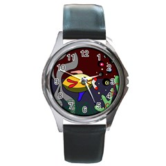 Fish Round Metal Watch by Valentinaart