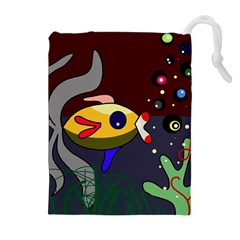 Fish Drawstring Pouches (extra Large) by Valentinaart