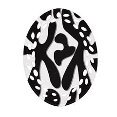 Black And White Dance Ornament (oval Filigree)