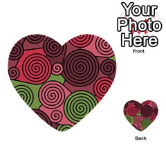 Red And Green Hypnoses Multi Purpose Cards (heart)