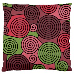 Red And Green Hypnoses Large Cushion Case (two Sides) by Valentinaart