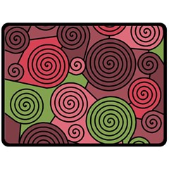 Red and green hypnoses Double Sided Fleece Blanket (Large)  by Valentinaart