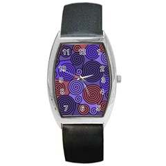 Blue And Red Hypnoses  Barrel Style Metal Watch by Valentinaart