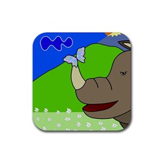 Butterfly And Rhino Rubber Coaster (square)  by Valentinaart