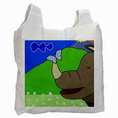 Butterfly And Rhino Recycle Bag (one Side) by Valentinaart