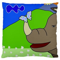 Butterfly and rhino Standard Flano Cushion Case (Two Sides) by Valentinaart
