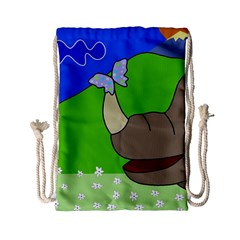 Butterfly And Rhino Drawstring Bag (small) by Valentinaart