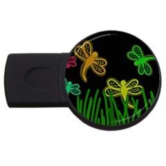 Neon Dragonflies Usb Flash Drive Round (4 Gb)  by Valentinaart