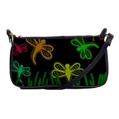 Neon Dragonflies Shoulder Clutch Bags by Valentinaart