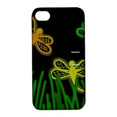 Neon Dragonflies Apple Iphone 4/4s Hardshell Case With Stand by Valentinaart