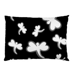 White Dragonflies Pillow Case (two Sides) by Valentinaart