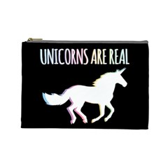 Unicorns Are Real Cosmetic Bag (large)  by TanyaDraws