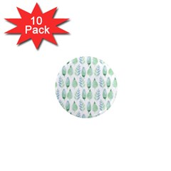 Green Watercolour Leaves Pattern 1  Mini Magnet (10 Pack)  by TanyaDraws