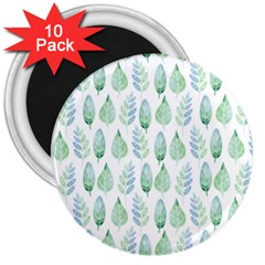 Green Watercolour Leaves Pattern 3  Magnets (10 Pack)  by TanyaDraws