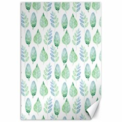 Green Watercolour Leaves Pattern Canvas 12  X 18