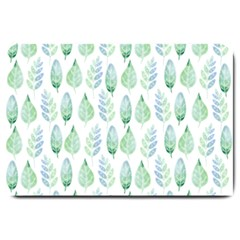 Green Watercolour Leaves Pattern Large Doormat  by TanyaDraws