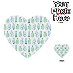Green Watercolour Leaves Pattern Multi Purpose Cards (heart)  by TanyaDraws