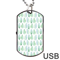 Green Watercolour Leaves Pattern Dog Tag Usb Flash (one Side) by TanyaDraws