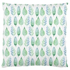 Green Watercolour Leaves Pattern Large Cushion Case (two Sides) by TanyaDraws